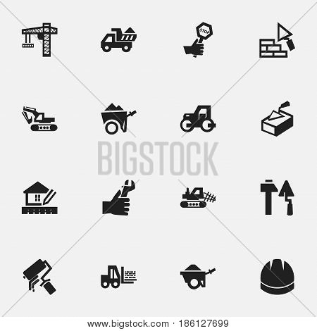 Set Of 16 Editable Construction Icons. Includes Symbols Such As Trolley, Mule, Spatula And More. Can Be Used For Web, Mobile, UI And Infographic Design.