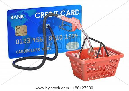 Credit card with fuel pump nozzle and shopping basket 3D rendering