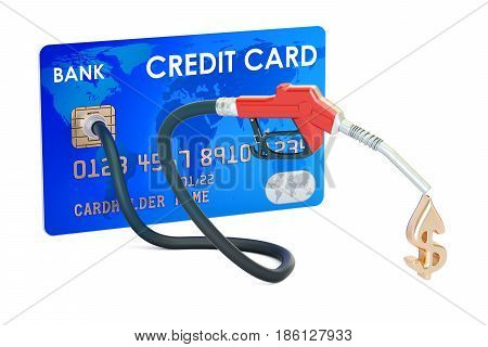 Credit card with fuel pump nozzle 3D rendering