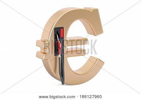 Euro symbol with fuel pump nozzle 3D rendering