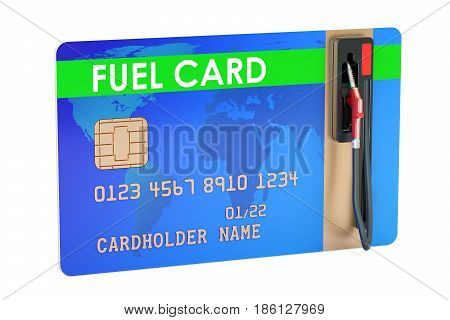 Fuel card with gas pump nozzle 3D rendering isolated on white background