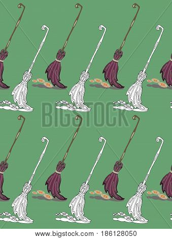 Seamless pattern witch broomstick for halloween party