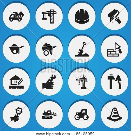 Set Of 16 Editable Construction Icons. Includes Symbols Such As Hands , Caterpillar, Endurance. Can Be Used For Web, Mobile, UI And Infographic Design.