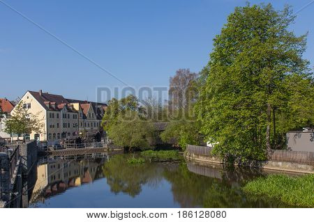 The river Naab in Schwandorf Bavaria on a sunny day in spring