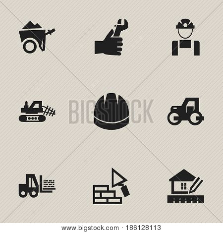 Set Of 9 Editable Construction Icons. Includes Symbols Such As Hands , Hardhat , Home Scheduling. Can Be Used For Web, Mobile, UI And Infographic Design.
