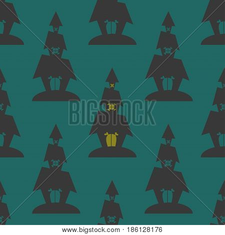 Seamless pattern witch house for halloween party