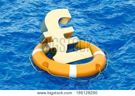 Lifebuoy with golden pound sterling symbol on the open sea 3D rendering