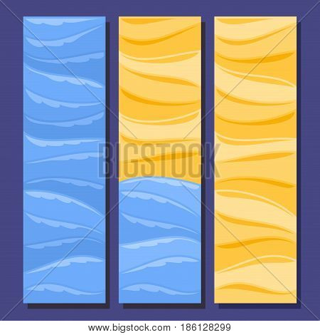 Vector set vertical banners for Summer season: 3 layouts with blue sea waves water background, yellow templates for title text, summertime flyers with sandy beach and summer ocean seafront backdrop.