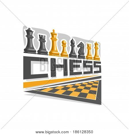 Vector logo for Chess board: set of black and yellow simple chess pieces, inscription title text - chess, half chessboard, creative graphic icon for intellectual strategic game, king and queen figures