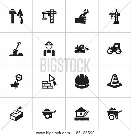 Set Of 16 Editable Construction Icons. Includes Symbols Such As Construction Tools, Oar, Employee And More. Can Be Used For Web, Mobile, UI And Infographic Design.