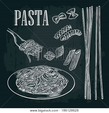 Set pasta - farfalle conchiglie penne fusilli spaghetti. Vector vintage white illustration isolated on black background.