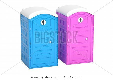 Portable blue and pink toilets 3D rendering isolated on white background