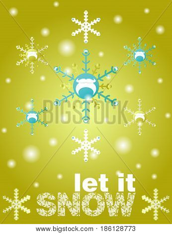 Snowflake winter vector set on gold background. Snowflake with santa beards. Let it snow text