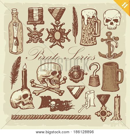 Vintage illustration of pirate sketches. Layered vector set.