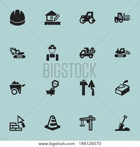 Set Of 16 Editable Construction Icons. Includes Symbols Such As Camion, Oar, Notice Object And More. Can Be Used For Web, Mobile, UI And Infographic Design.