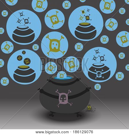 Set of witch pot with skull bubbles. Vector illustration for halloween cards.