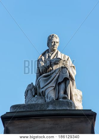 Sir Walter Scott's statue on the Scott Monument Princes Street Edinburgh UK