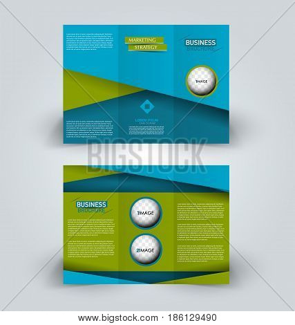 Brochure template. Business trifold flyer.  Creative design trend for professional corporate style. Vector illustration. Blue and green color.
