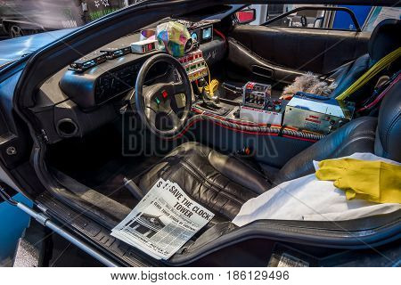 STUTTGART GERMANY - MARCH 02 2017: Cabin of the DeLorean time machine (Back to the Future franchise) based on a DeLorean DMC-12 sports car. Europe's greatest classic car exhibition