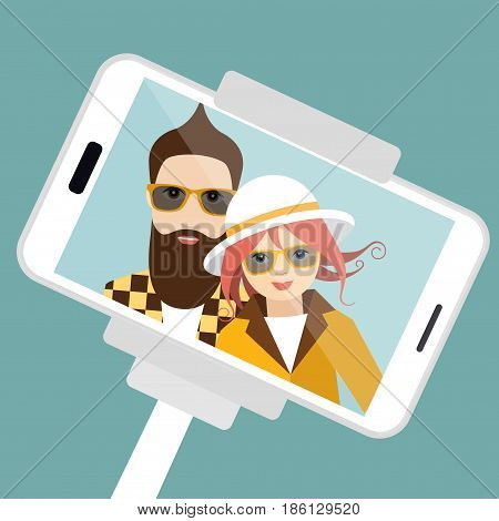 Selfie photo. Man and woman in love.