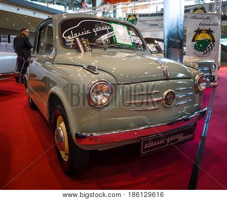 STUTTGART GERMANY - MARCH 02 2017: City car Fiat 600 1956. Europe's greatest classic car exhibition