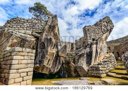 Condor temple Machu Picchu, Incas ruins in the peruvian Andes at Cuzco Peru