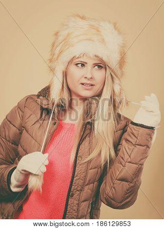 Blonde Woman In Winter Furry Hat