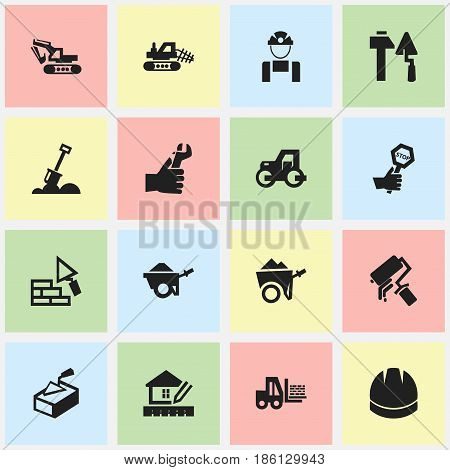 Set Of 16 Editable Construction Icons. Includes Symbols Such As Hands , Home Scheduling, Mule. Can Be Used For Web, Mobile, UI And Infographic Design.
