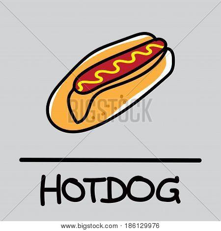 Cute hotdog hand-drawn style,drawing,hand drawn vector illustration.