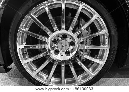 STUTTGART GERMANY - MARCH 02 2017: Front braking system of the mid-size luxury sports car Mercedes-Benz CLK63 AMG Black Series 2007. Black and white. Europe's greatest classic car exhibition