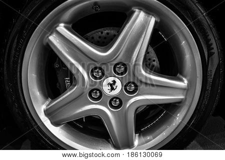 STUTTGART GERMANY - MARCH 02 2017: Front brake system of the sports car Ferrari 512 TR 1994. Black and white. Europe's greatest classic car exhibition