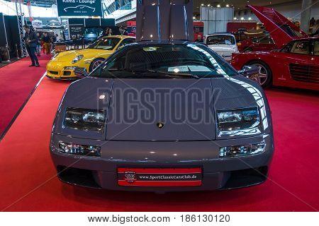 STUTTGART GERMANY - MARCH 02 2017: Sports car Lamborghini Diablo VT 6.0 2000. Europe's greatest classic car exhibition