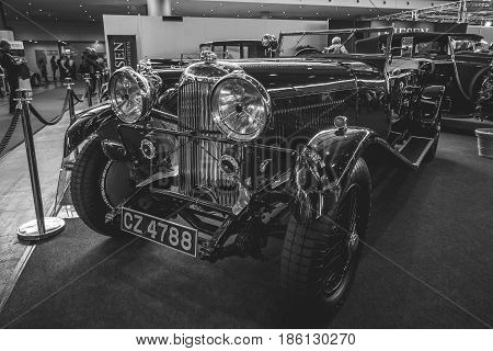 STUTTGART GERMANY - MARCH 02 2017: Vintage car Lagonda 3-Litre Tourer 1934. Stylization. Black and white. Europe's greatest classic car exhibition