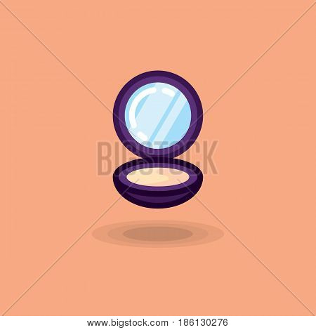 Vector icon compact powder isolated, makeup face. Powder illustration with mirror. Open powder icon flat on colored background