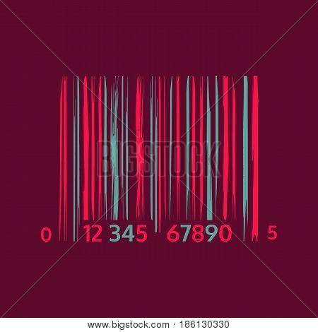 Abstract Barcode icon. Modern sign in Glitch art style. Trendy market mark symbol. Techno Digital geometric pattern. Stylized signal error. Random line strips. Vector element for web design concept