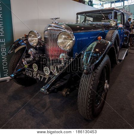 STUTTGART GERMANY - MARCH 02 2017: Luxury car Bentley 4 Litre Mulliner Sport-Saloon ex Capt. Woolf Barnato 1931. Europe's greatest classic car exhibition