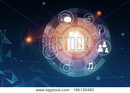Circular futuristic interface of smart home automation assistant on a virtual screen on dark blue background. 3D Rendering