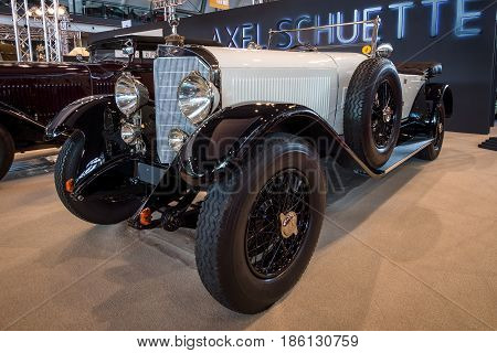 STUTTGART GERMANY - MARCH 02 2017: Full-size luxury car Mercedes-Benz Typ 630K Supercharged Short-Chassis 1926. Europe's greatest classic car exhibition