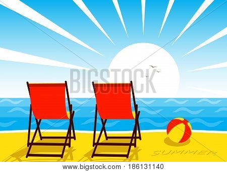 vector deck chairs on the beach and sunset over the sea