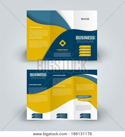 Brochure template. Business trifold flyer.  Creative design trend for professional corporate style. Vector illustration. Blue and yellow color.