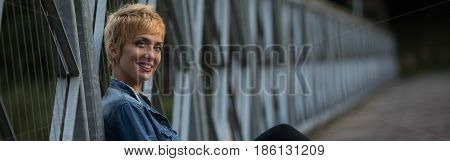 Smiling Friendly Young Blond Woman Panorama