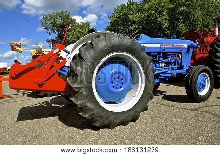 YANKTON, SOUTH DAKOTA, August 19, 2106: A Restored  blue Ford 2000 tractor is displayed at the annual Riverboat Days celebrated the third weekend of August in Yankton, South Dakota.