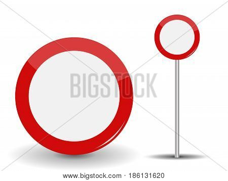 Prohibiting Travel Round Red Road Sign.Vector Illustration. EPS10