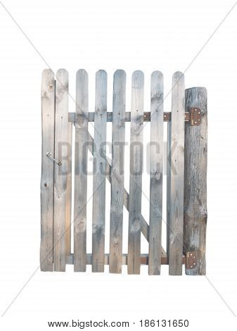 Wooden planks door in garden fence isolated on white