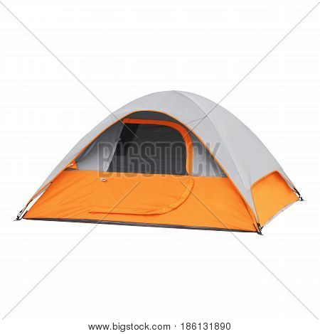 Person Tent Isolated On White Background. Orange Dome Tent On Clipping Path. Camping Tent. Alpine Te