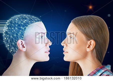 Ordinary woman and one with digital brain facing each other on dark blue background. Future concept