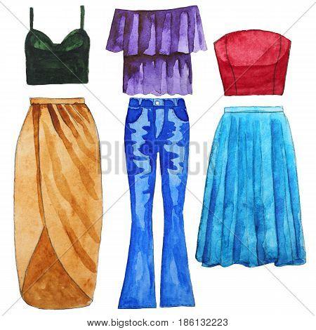 Skirt. Jeans. Top. Bardot. Wrap Tulle Hand drawn watercolor illustration Raster illustration