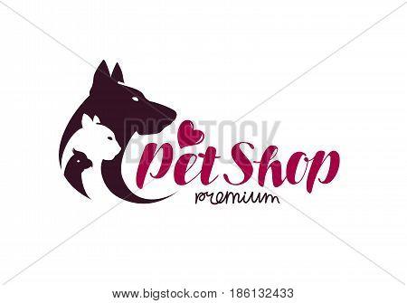 Pet shop logo. Animals cat, dog, parrot icon. Vector illustration isolated on white background