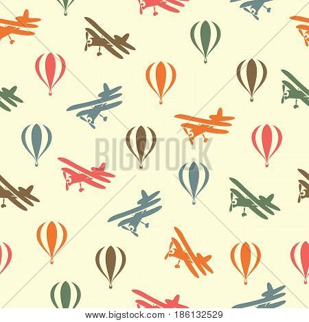 Retro seamless travel pattern of color balloons and aircraft