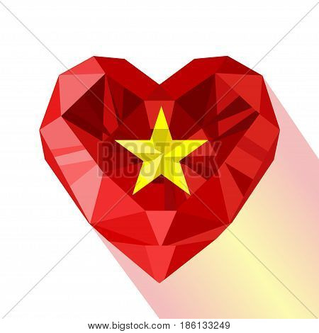 Vector crystal gem jewelry Vietnamese  heart with the flag of the Socialist Republic of Vietnam. Flat style logo symbol of love Vietnam. Asia. SRV.
